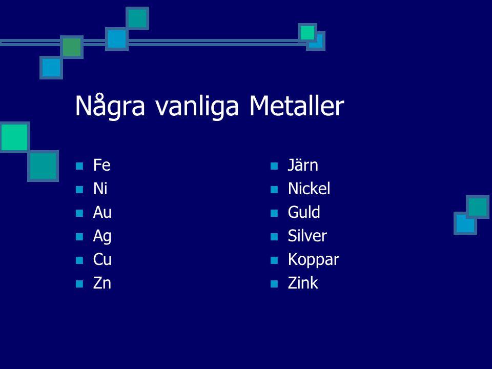 Några vanliga Metaller