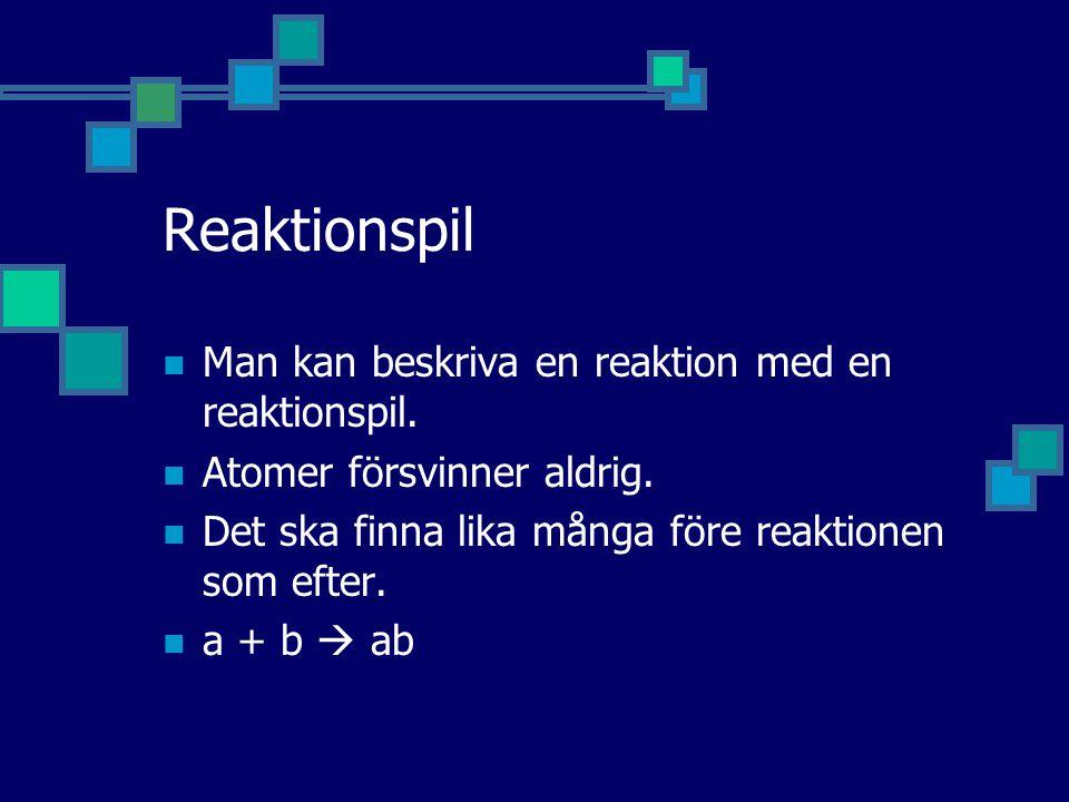 Reaktionspil Man kan beskriva en reaktion med en reaktionspil.