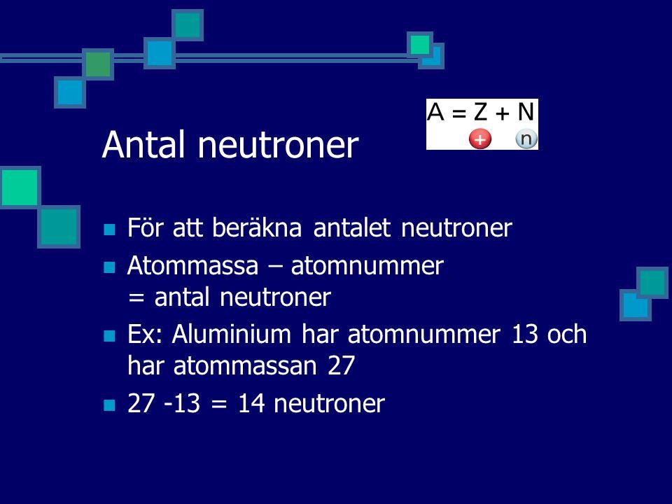 Antal neutroner För att beräkna antalet neutroner