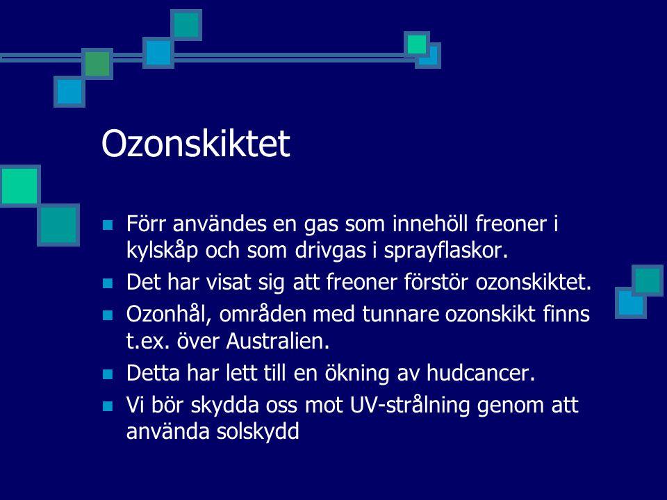 Ozonskiktet Förr användes en gas som innehöll freoner i kylskåp och som drivgas i sprayflaskor. Det har visat sig att freoner förstör ozonskiktet.