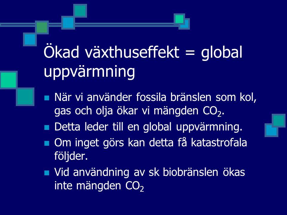 Ökad växthuseffekt = global uppvärmning
