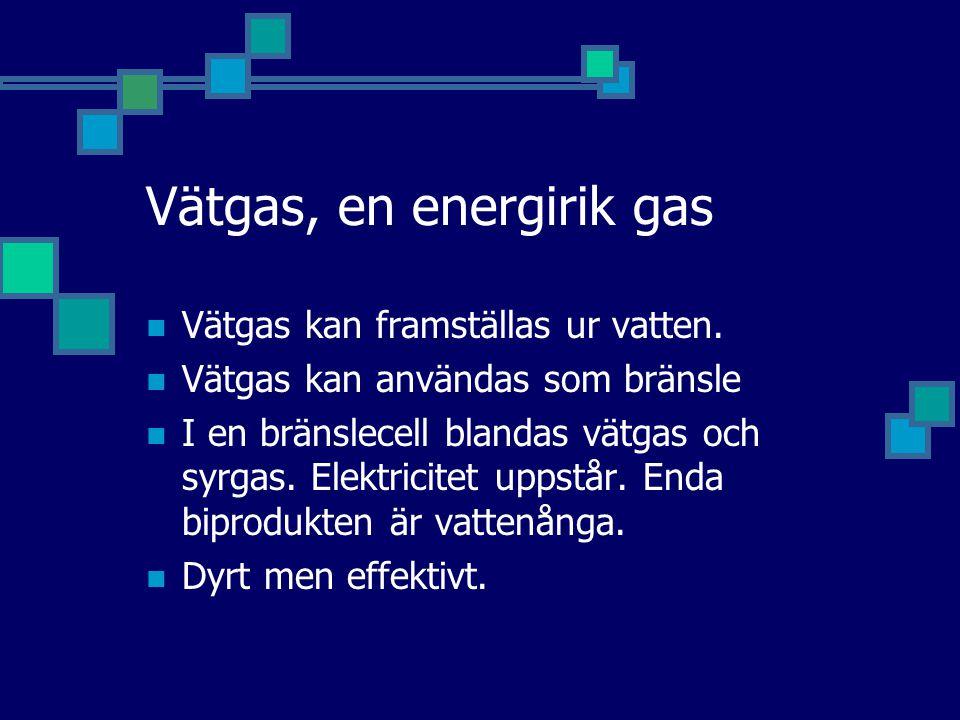 Vätgas, en energirik gas