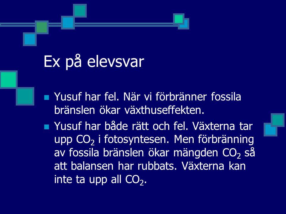 Ex på elevsvar Yusuf har fel. När vi förbränner fossila bränslen ökar växthuseffekten.