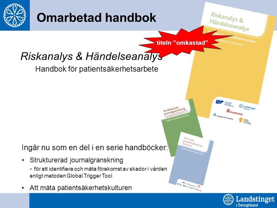 Riskanalys & Händelseanalys Handbok för patientsäkerhetsarbete