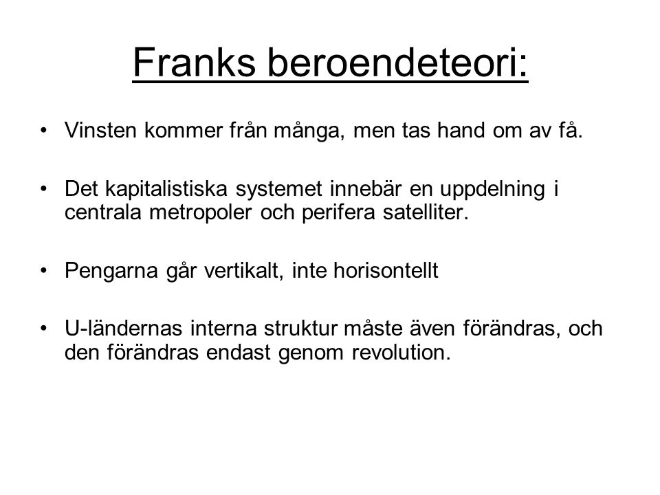 Franks beroendeteori: