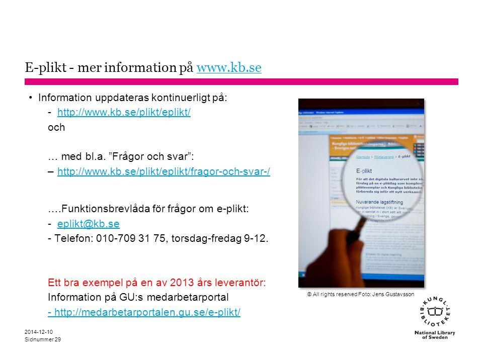 E-plikt - mer information på www.kb.se