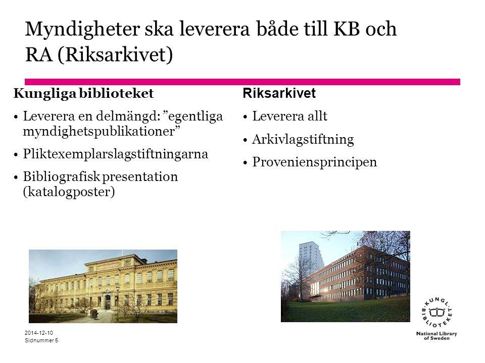 Myndigheter ska leverera både till KB och RA (Riksarkivet)