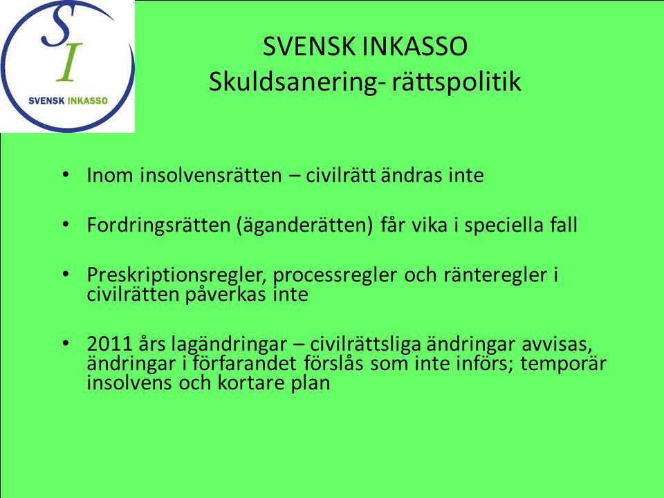SVENSK INKASSO Skuldsanering- rättspolitik