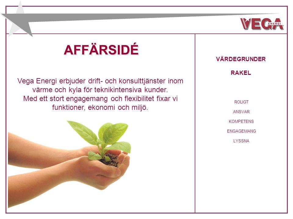 AFFÄRSIDÉ VÄRDEGRUNDER. RAKEL. Vega Energi erbjuder drift- och konsulttjänster inom värme och kyla för teknikintensiva kunder.