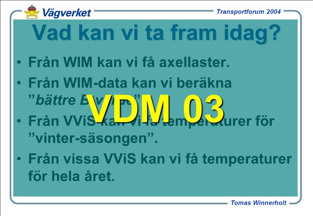 VDM 03 Vad kan vi ta fram idag Från WIM kan vi få axellaster.