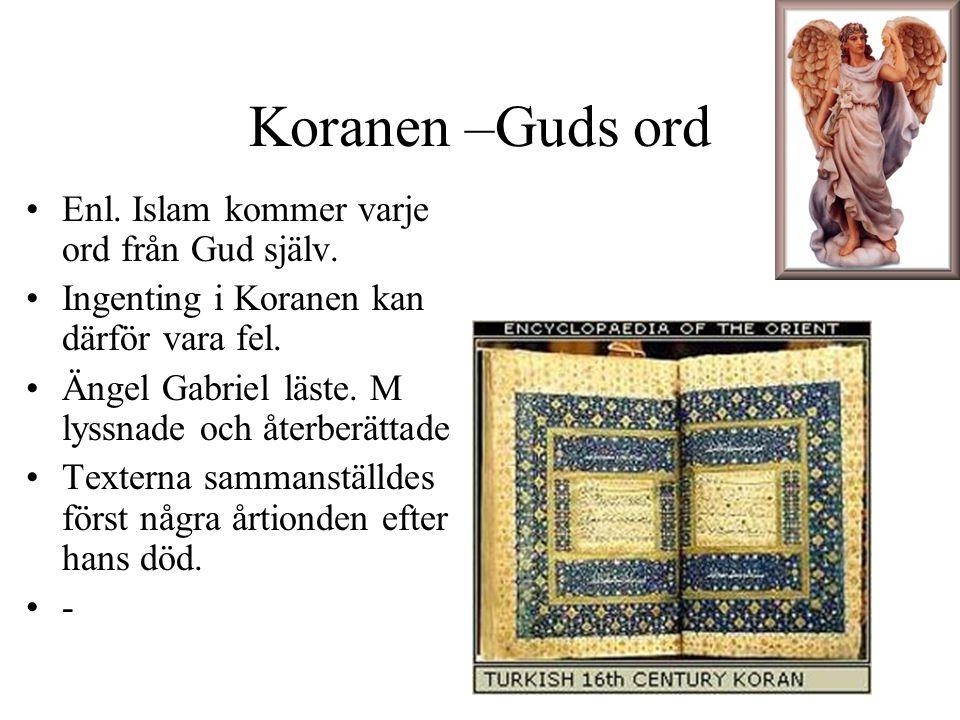 Koranen –Guds ord Enl. Islam kommer varje ord från Gud själv.