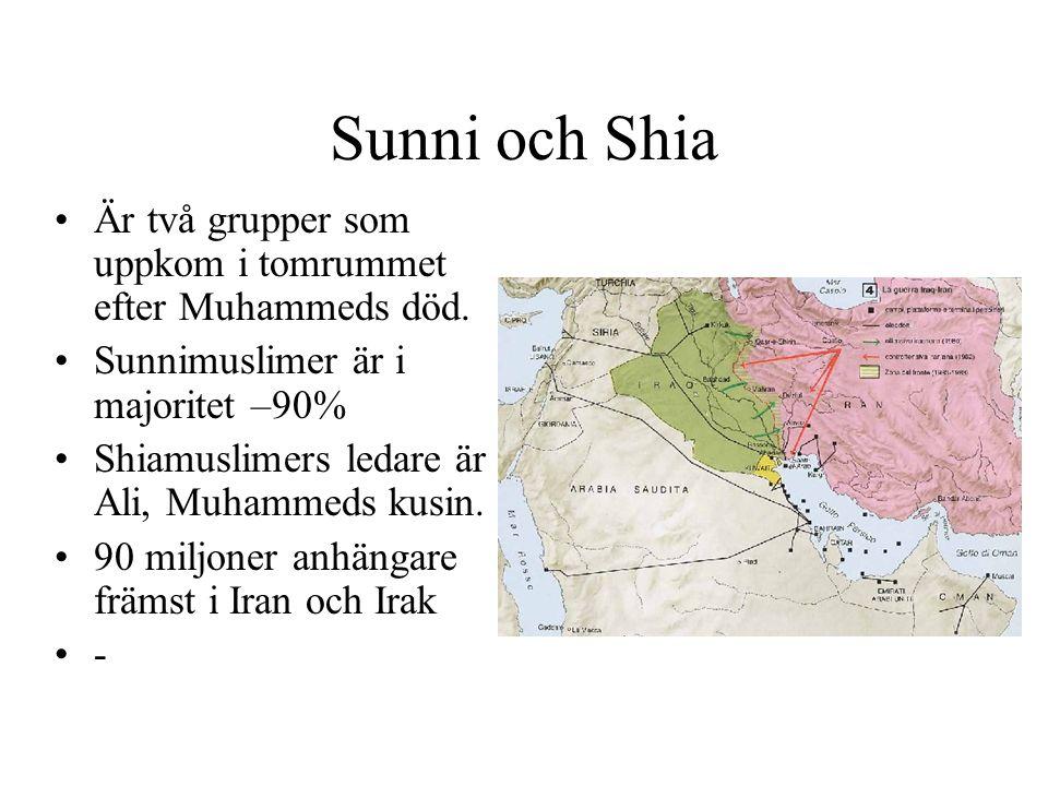 Sunni och Shia Är två grupper som uppkom i tomrummet efter Muhammeds död. Sunnimuslimer är i majoritet –90%