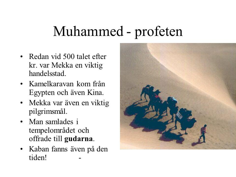 Muhammed - profeten Redan vid 500 talet efter kr. var Mekka en viktig handelsstad. Kamelkaravan kom från Egypten och även Kina.