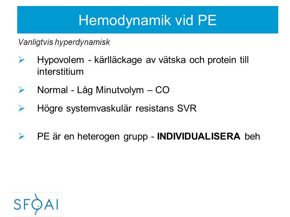 Hemodynamik vid PE Vanligtvis hyperdynamisk. Hypovolem - kärlläckage av vätska och protein till interstitium.