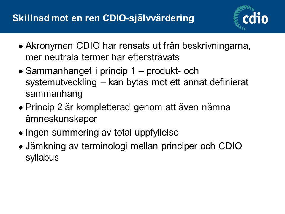 Skillnad mot en ren CDIO-självvärdering