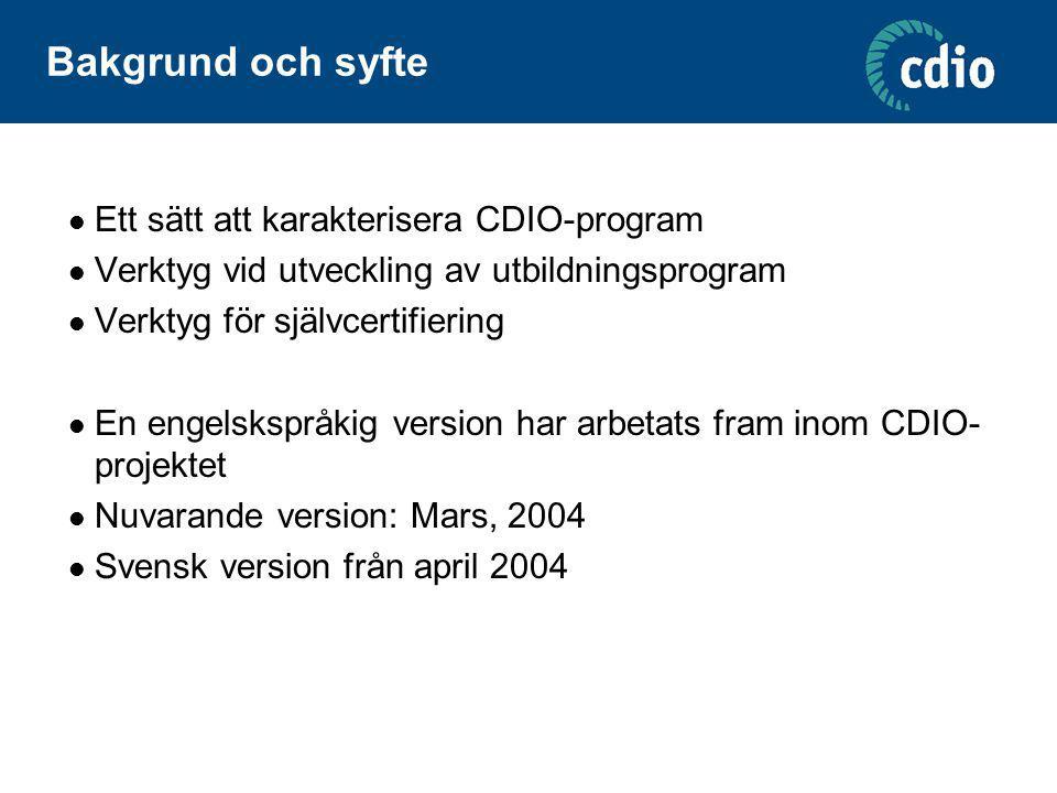 Bakgrund och syfte Ett sätt att karakterisera CDIO-program