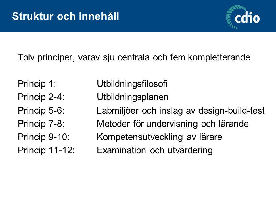 Struktur och innehåll Tolv principer, varav sju centrala och fem kompletterande. Princip 1: Utbildningsfilosofi.