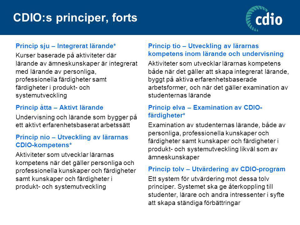 CDIO:s principer, forts