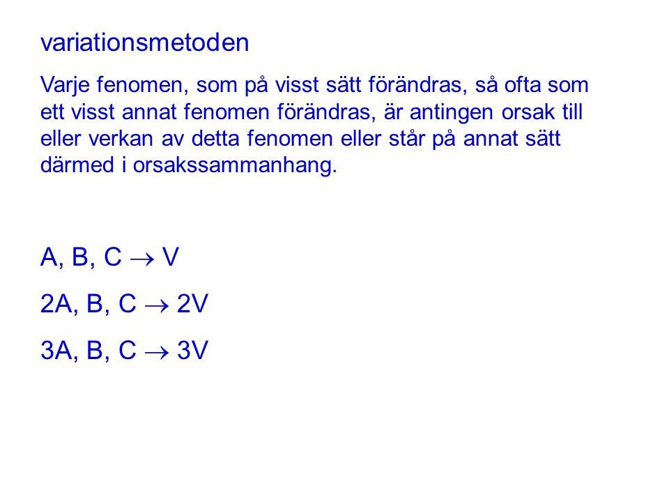 variationsmetoden A, B, C  V 2A, B, C  2V 3A, B, C  3V