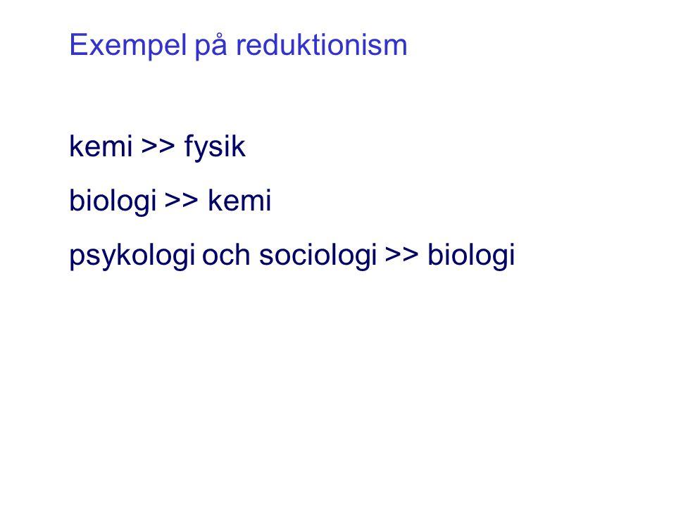 Exempel på reduktionism