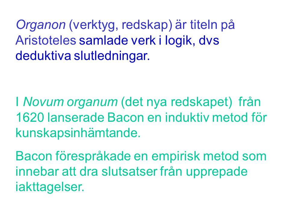 Organon (verktyg, redskap) är titeln på Aristoteles samlade verk i logik, dvs deduktiva slutledningar.