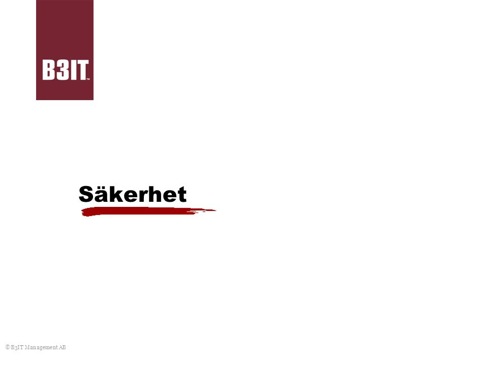 Säkerhet © B3IT Management AB