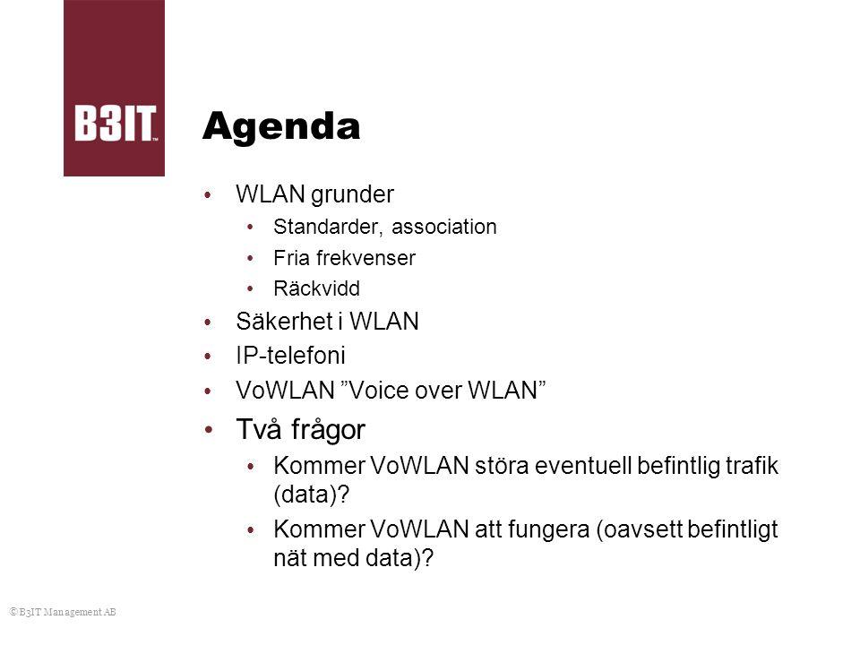 Agenda Två frågor WLAN grunder Säkerhet i WLAN IP-telefoni
