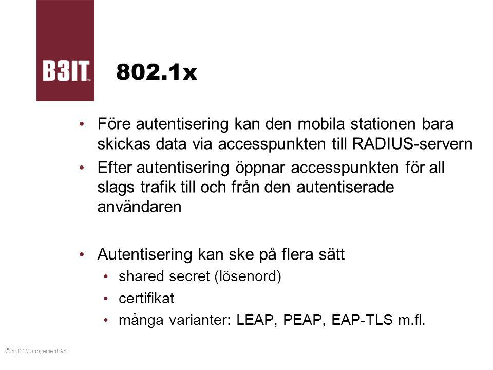802.1x Före autentisering kan den mobila stationen bara skickas data via accesspunkten till RADIUS-servern.