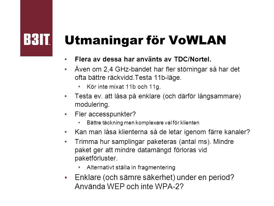Utmaningar för VoWLAN Flera av dessa har använts av TDC/Nortel.