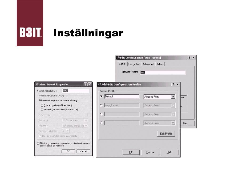 Inställningar SSID och nätverkstyp