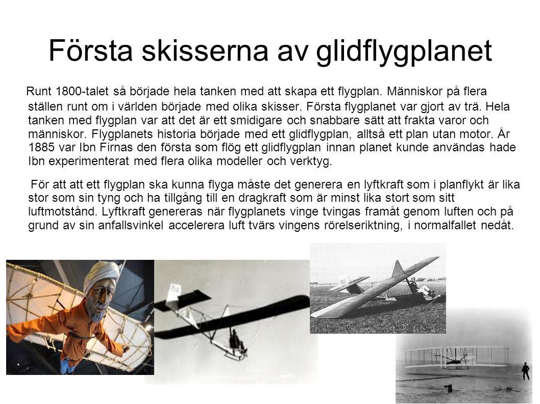Första skisserna av glidflygplanet