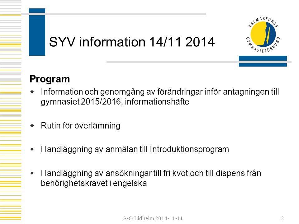 SYV information 14/11 2014 Program
