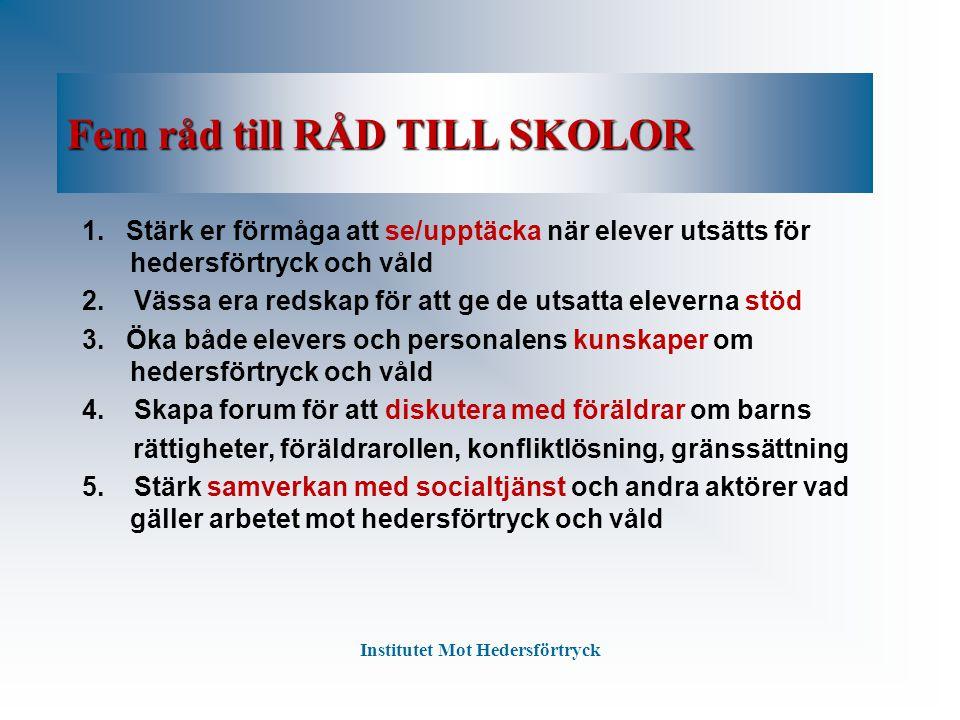 Fem råd till RÅD TILL SKOLOR