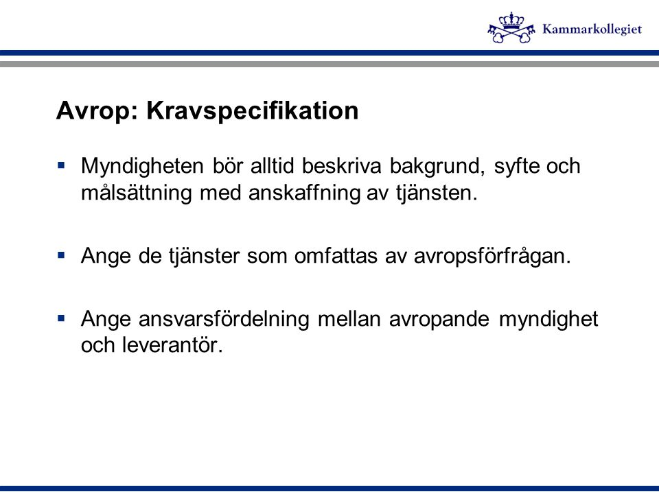 Avrop: Kravspecifikation