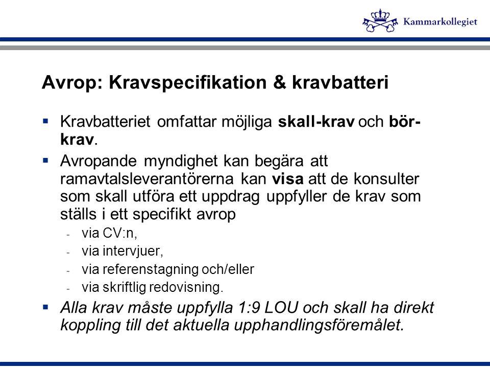 Avrop: Kravspecifikation & kravbatteri