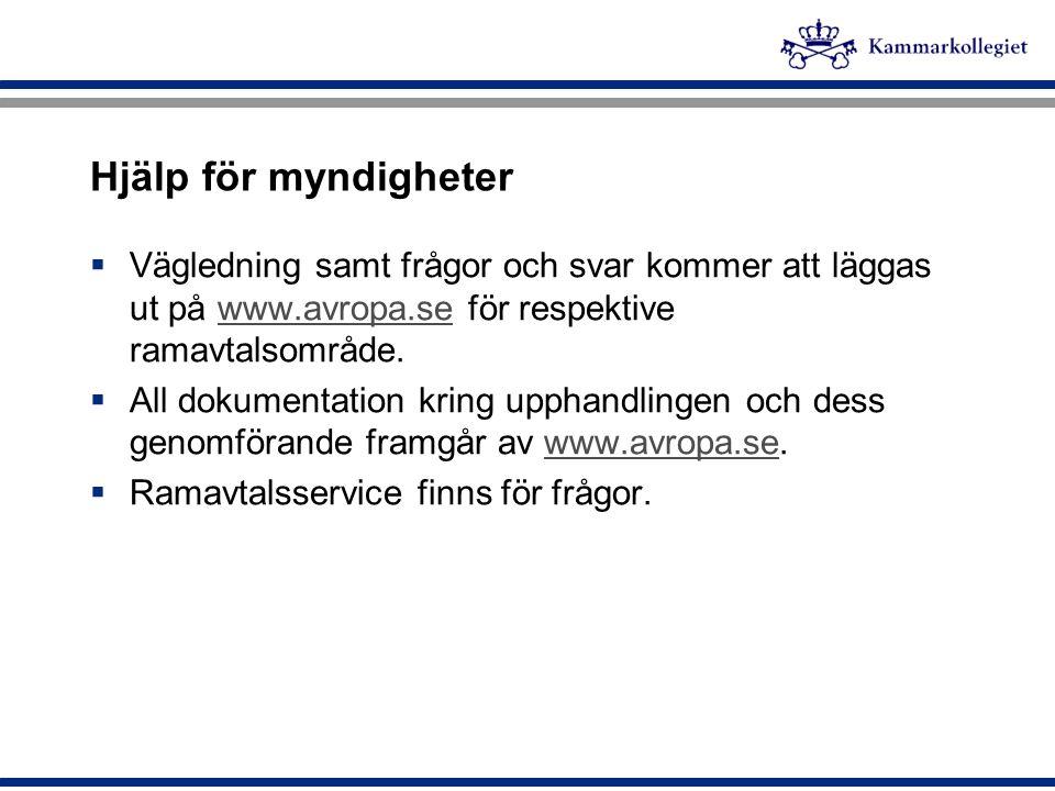 Hjälp för myndigheter Vägledning samt frågor och svar kommer att läggas ut på www.avropa.se för respektive ramavtalsområde.