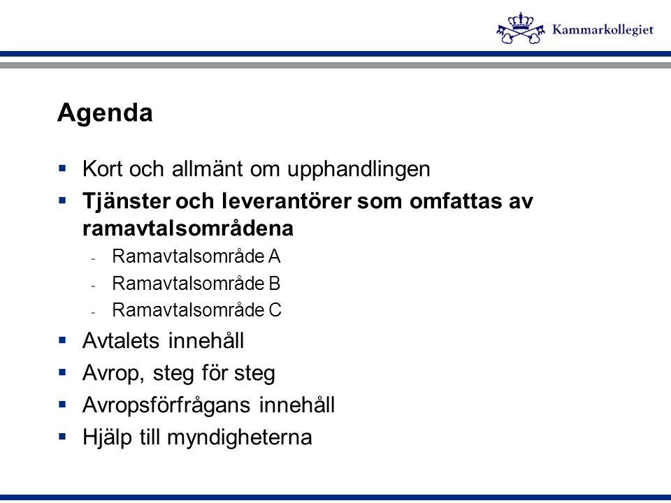 Agenda Kort och allmänt om upphandlingen