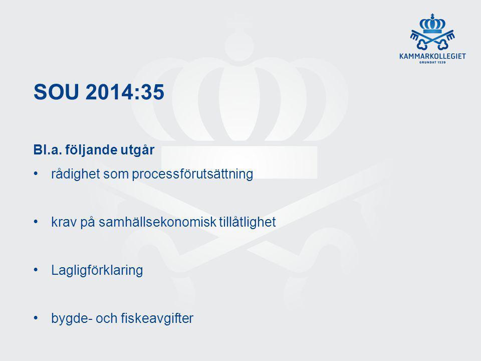 SOU 2014:35 Bl.a. följande utgår rådighet som processförutsättning