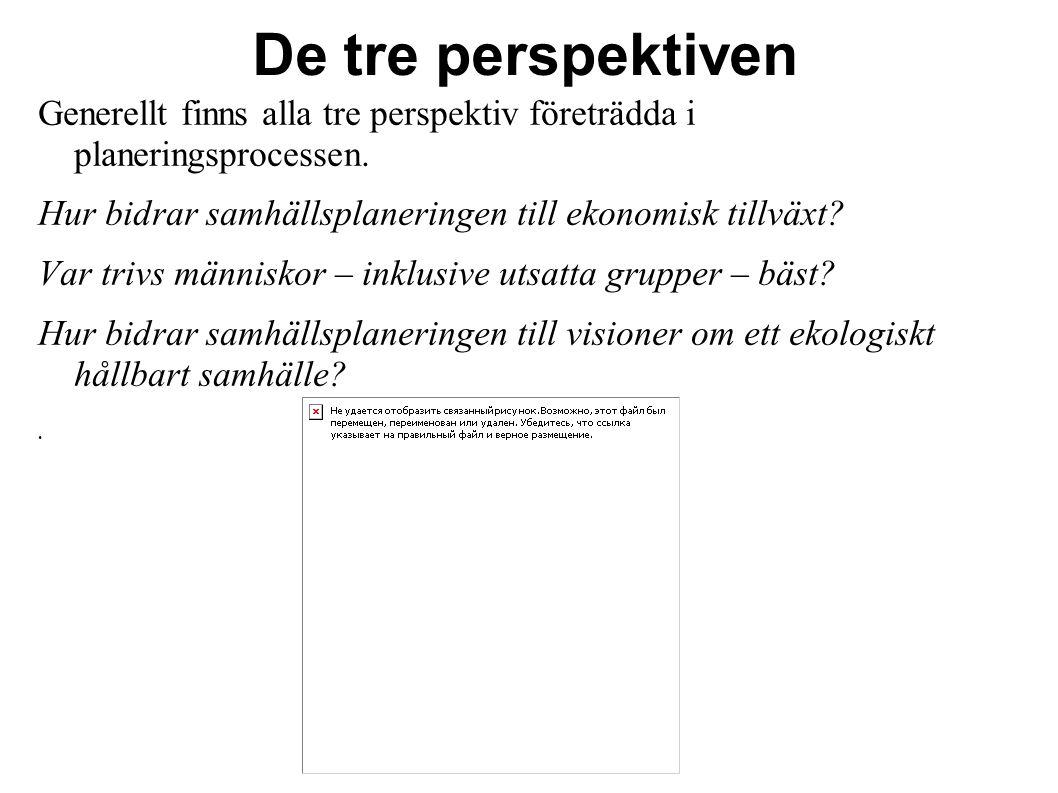 De tre perspektiven Generellt finns alla tre perspektiv företrädda i planeringsprocessen. Hur bidrar samhällsplaneringen till ekonomisk tillväxt