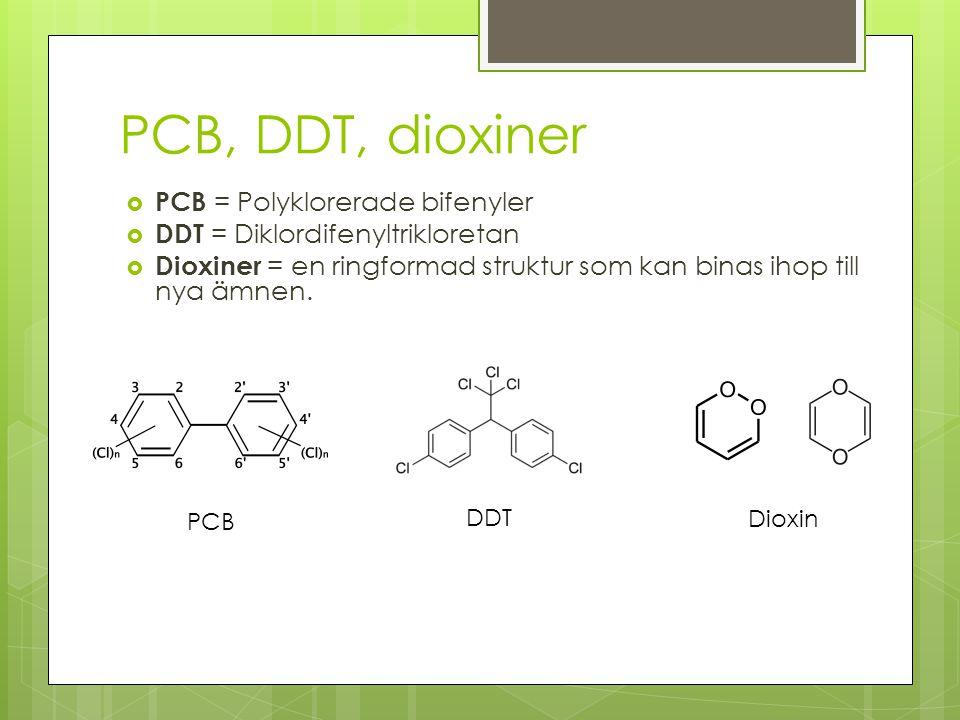 PCB, DDT, dioxiner PCB = Polyklorerade bifenyler