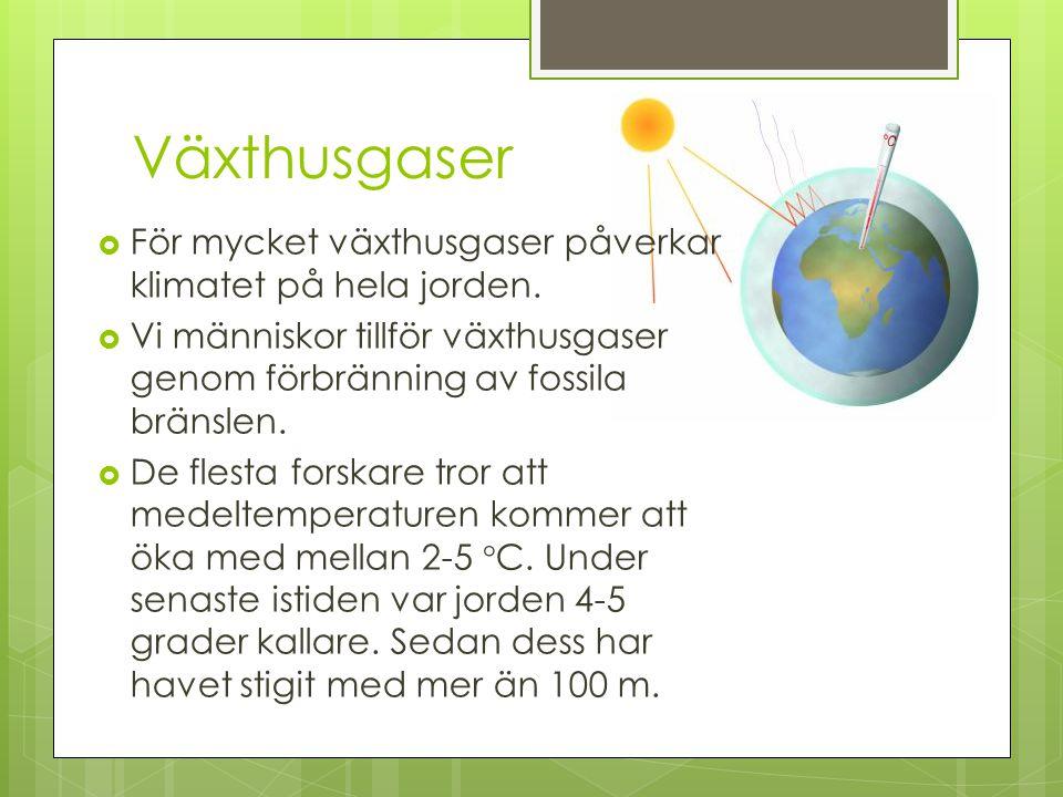 Växthusgaser För mycket växthusgaser påverkar klimatet på hela jorden.