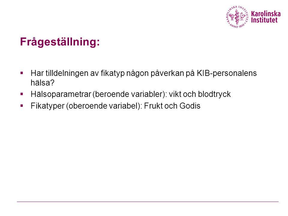 Frågeställning: Har tilldelningen av fikatyp någon påverkan på KIB-personalens hälsa Hälsoparametrar (beroende variabler): vikt och blodtryck.