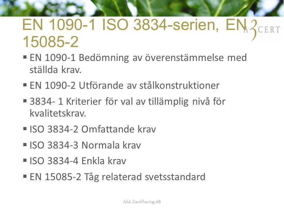 EN 1090-1 ISO 3834-serien, EN 15085-2 EN 1090-1 Bedömning av överenstämmelse med ställda krav. EN 1090-2 Utförande av stålkonstruktioner.