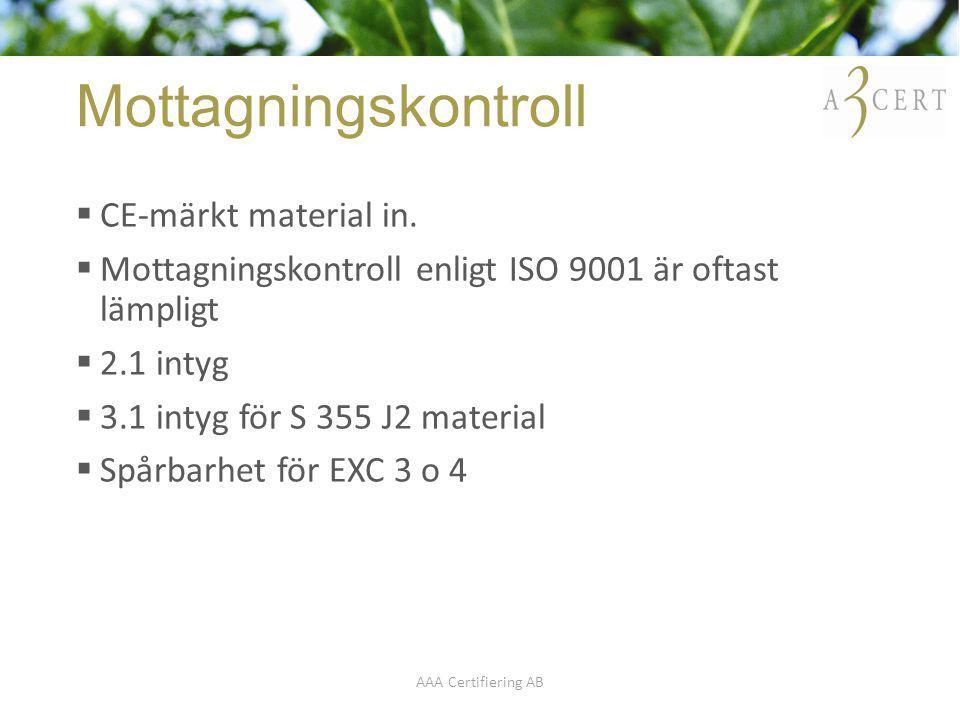 Mottagningskontroll CE-märkt material in.