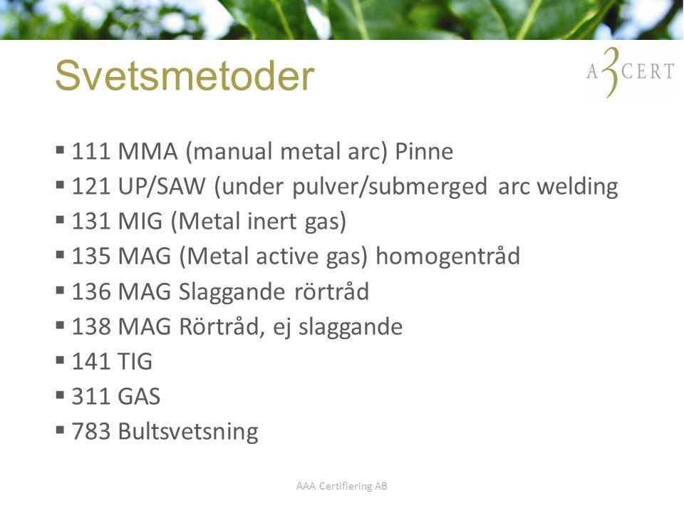 Svetsmetoder 111 MMA (manual metal arc) Pinne