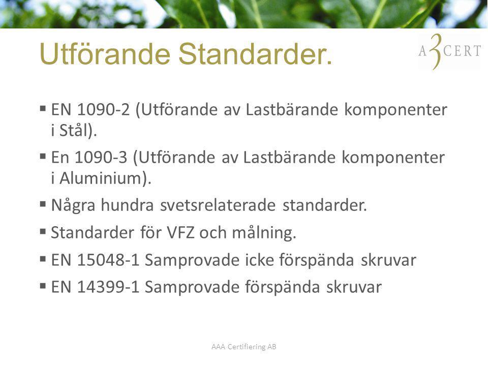 Utförande Standarder. EN 1090-2 (Utförande av Lastbärande komponenter i Stål). En 1090-3 (Utförande av Lastbärande komponenter i Aluminium).