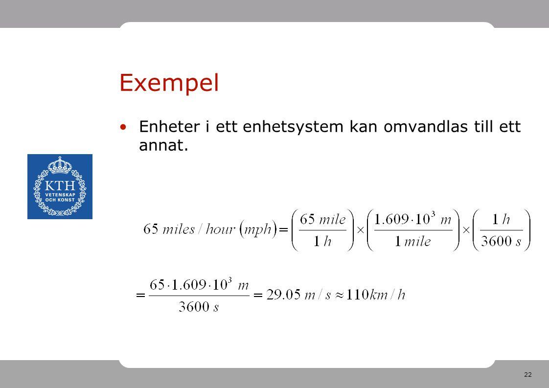 Exempel Enheter i ett enhetsystem kan omvandlas till ett annat.