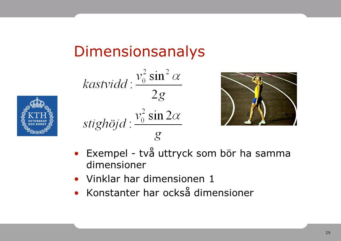 Dimensionsanalys Exempel - två uttryck som bör ha samma dimensioner
