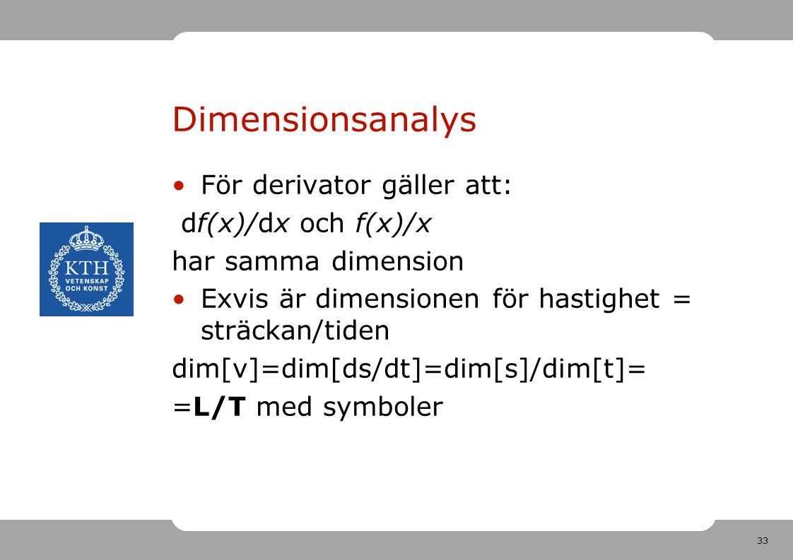 Dimensionsanalys För derivator gäller att: df(x)/dx och f(x)/x