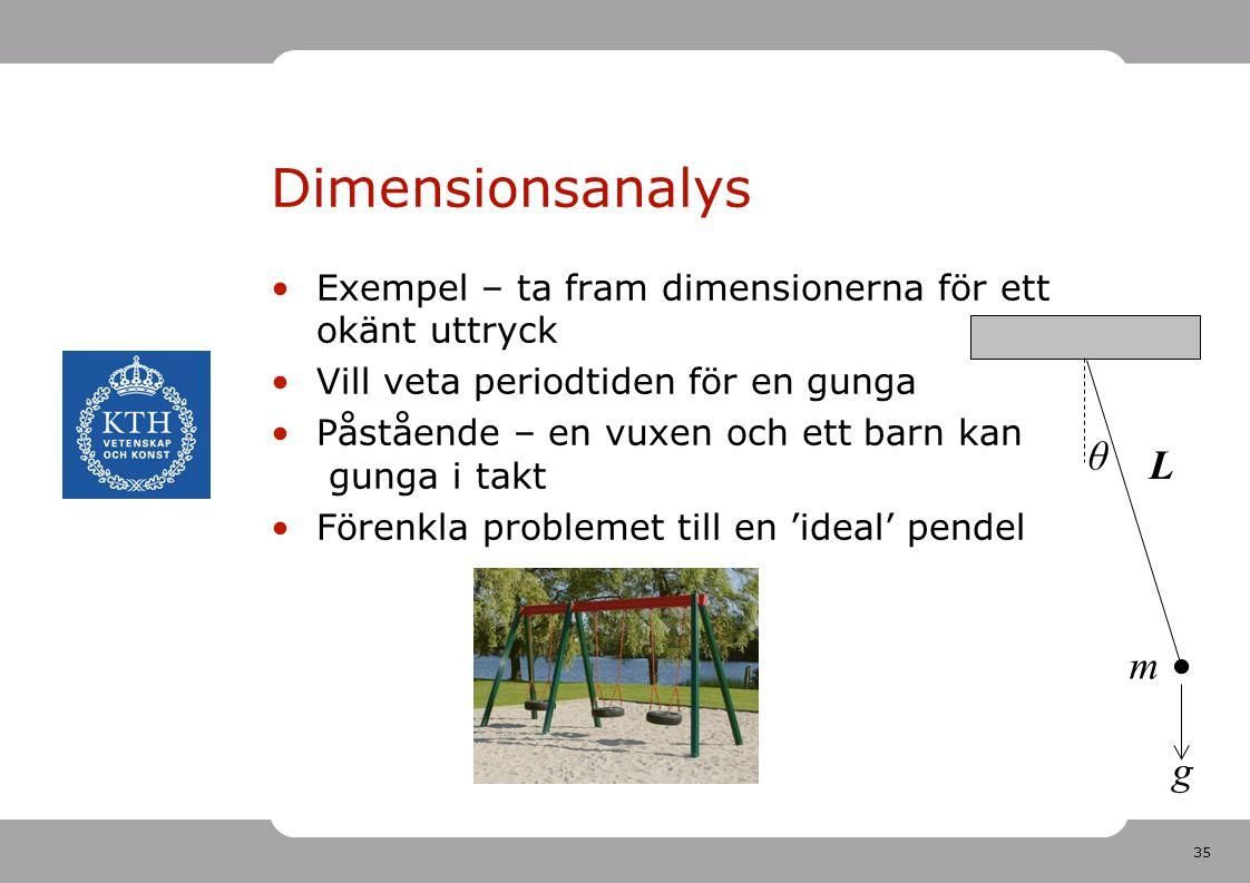 Dimensionsanalys θ L l m g